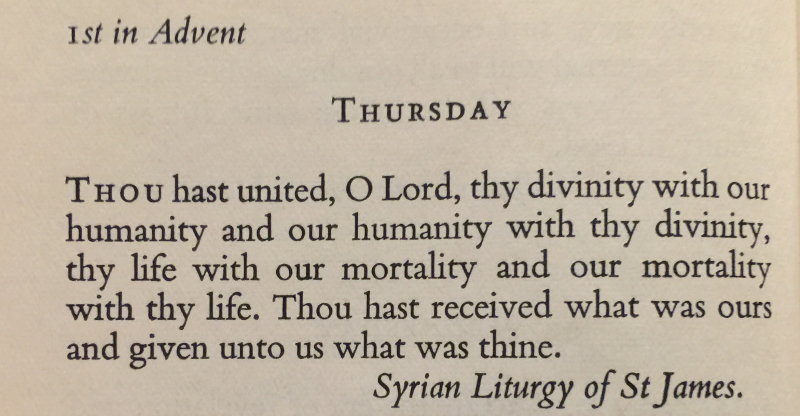 Syrian Luturgy of St. James 1st Thurs in Advent