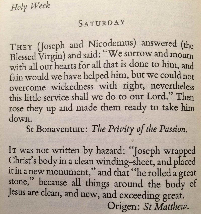 Holy Week Saturday (April 15th  2017)