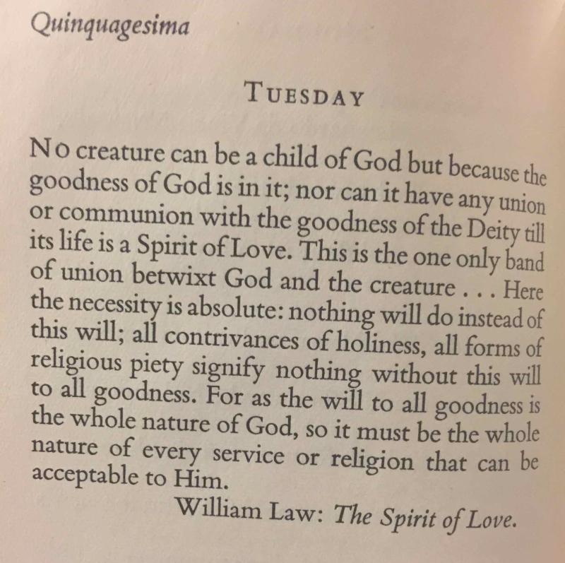 Quinquagesima Tuesday (February 28th, 2017)